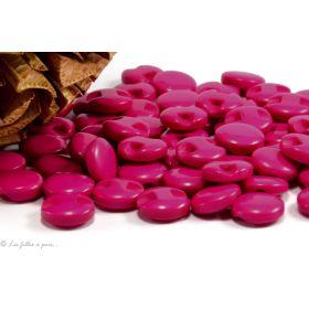 Boutons boule plat - 12.5mm - Rose fuchsia - Lot de 10