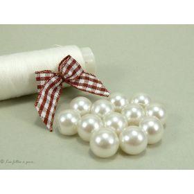 Bouton boule - 10mm - Blanc ivoire nacré - Lot de 10