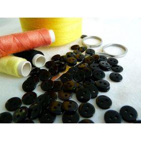 Boutons résine - 9mm - Noir - Lot de 20