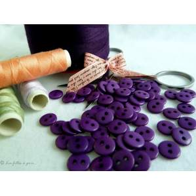 Boutons résine - 9mm - Violet foncé - Lot de 20