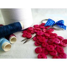Boutons résine - 9mm - Rose fuchsia - Lot de 20