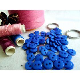 Boutons résine- 9mm - Bleu roi - Lot de 20