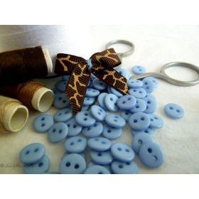 Boutons résine - 9mm - Bleu clair - Lot de 20