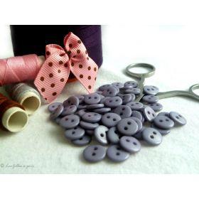 Boutons résine - 9mm - Gris perle - Lot de 20