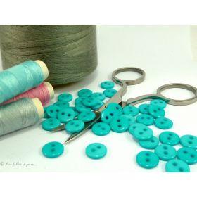 Boutons résine- 9mm - Bleu turquoise - Lot de 20