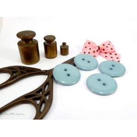 Boutons résine - 23mm - Bleu gris - Lot de 8