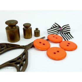 Boutons résine - 23mm - Orange - Lot de 8