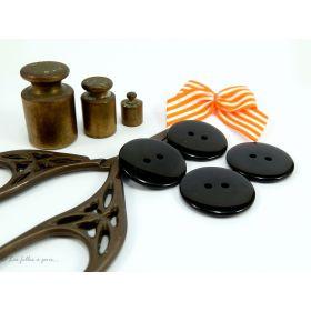 Boutons résine - 23mm - Noir - Lot de 8