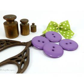Boutons résine - 23mm - Violet - Lot de 8
