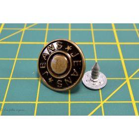 """Boucles salopette + boutons célibataires """"Jeans"""" métal - Bronze - Set de 2"""