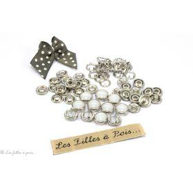 Boutons-pression à sertir perle - 10mm - Blanc nacré - Lot de 10