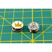 Boutons-pression à sertir motif couronne - 11mm - Blanc et doré - Lot de 6