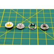 Boutons-pression à sertir motif couronne - 11mm - Blanc et doré - Lot de 6 - 5