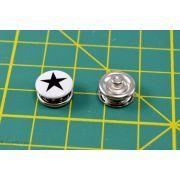 Boutons-pression à sertir motif étoile - 11mm - Blanc et noir - Lot de 6 - 5