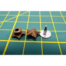 Rivets à sertir - Etoile - Bronze antique - Lot de 8