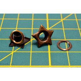 Oeillets à sertir - Ecrou hexagonal - Bronze antique - Lot de 25