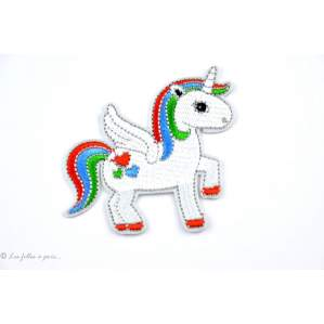 Ecusson licorne - Blanc - Thermocollant