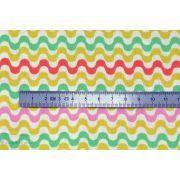 Tissu coton multicolore et écru motif vague - Oeko-Tex ®