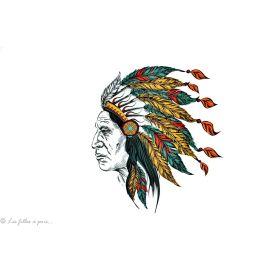 Transfert profil de chef indien - Multicolore - Thermocollant