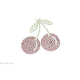 Motif strass grandes cerises  - Rouge et cristal - Thermocollant