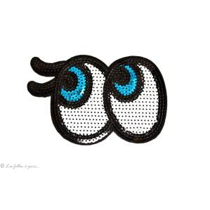 Ecusson sequin gros yeux - Blanc - Thermocollant