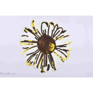 Ecusson sequin marguerite - Jaune et blanc - Thermocollant - 1