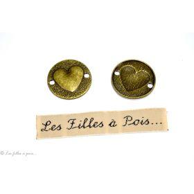 Lot de 2 breloques connecteur coeur rond bronze antique 23mm