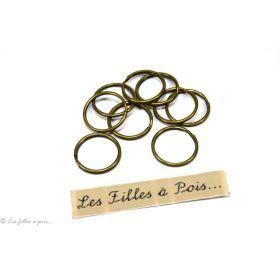 Lot de 3 anneaux porte-clés rond et plat avec chaînette en bronze antique 30mm