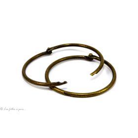 Gros anneau porte-clés rond vintage en bronze antique 8.5cm