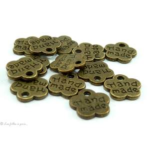 Lot de 10 breloqueshandmade bronze antique 8mm