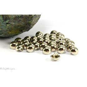 Boutons demi-boule - 10mm - Métal argenté