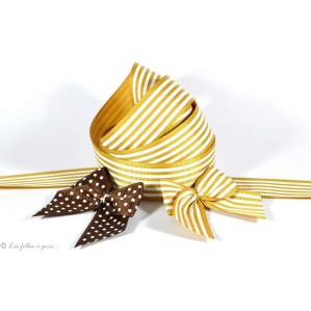 Ruban gros grain jaune doré et blanc motif rayures 25mm