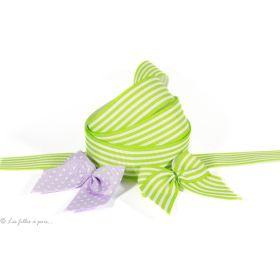 Ruban gros grain vert anis et blanc motif rayures 25mm