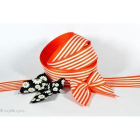 Ruban gros grain orange et blanc motif rayures 25mm