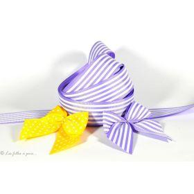 Ruban gros grain violet parme et blanc motif rayures 25mm