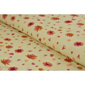 Tissu coton motif fleur savane - Crème - Collection Serengeti - Dashwood studio ®