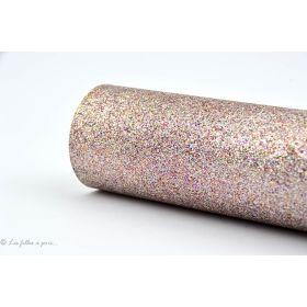 Coupon simili cuir - Glitter - Vieux rose argenté