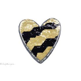 Motif sequins réversibles - Cœur noir et doré - à coudre