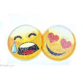 Motif sequin réversible smilet emoji - Jaune - à coudre
