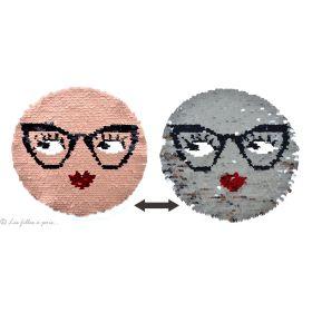 Motif sequin réversible visage et lunettes - Rose et gris argenté - à coudre