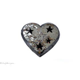 Motif sequin réversible cœur doré et gris argenté - à coudre