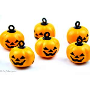 Breloque grelot citrouille Halloween orange 16mm - 1