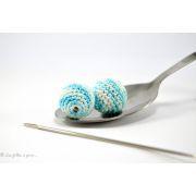 Perle crochetée faite main chiné bleu turquoise et blanc