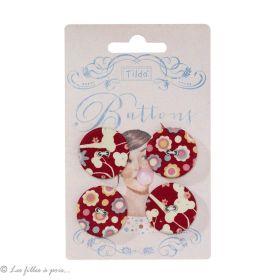 Bouton en tissu - 25mm - Rouge - Tilda ® - Lot de 4