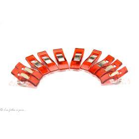 """Lot de 10 pinces plastiques rouges et transparentes type """"Clover"""" 33x12mm"""