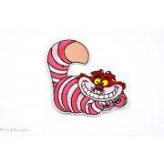 Ecusson chat Cheshire d'Alice aux Pays des Merveilles - Rose - Thermocollant