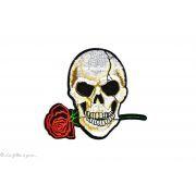 Ecusson tête de mort Rose - Blanc et rouge - Thermocollant