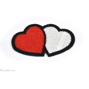 Écusson 2 coeurs - Rouge et blanc - Thermocollant