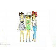 Transfert trois filles à la mode - Multicolore - Thermocollant