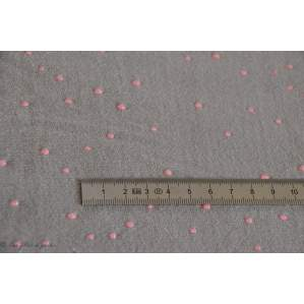 "Tissu jersey ""Twinkle Grey"" - Gris perle pois rose pailleté - Atelier Brunette ®"